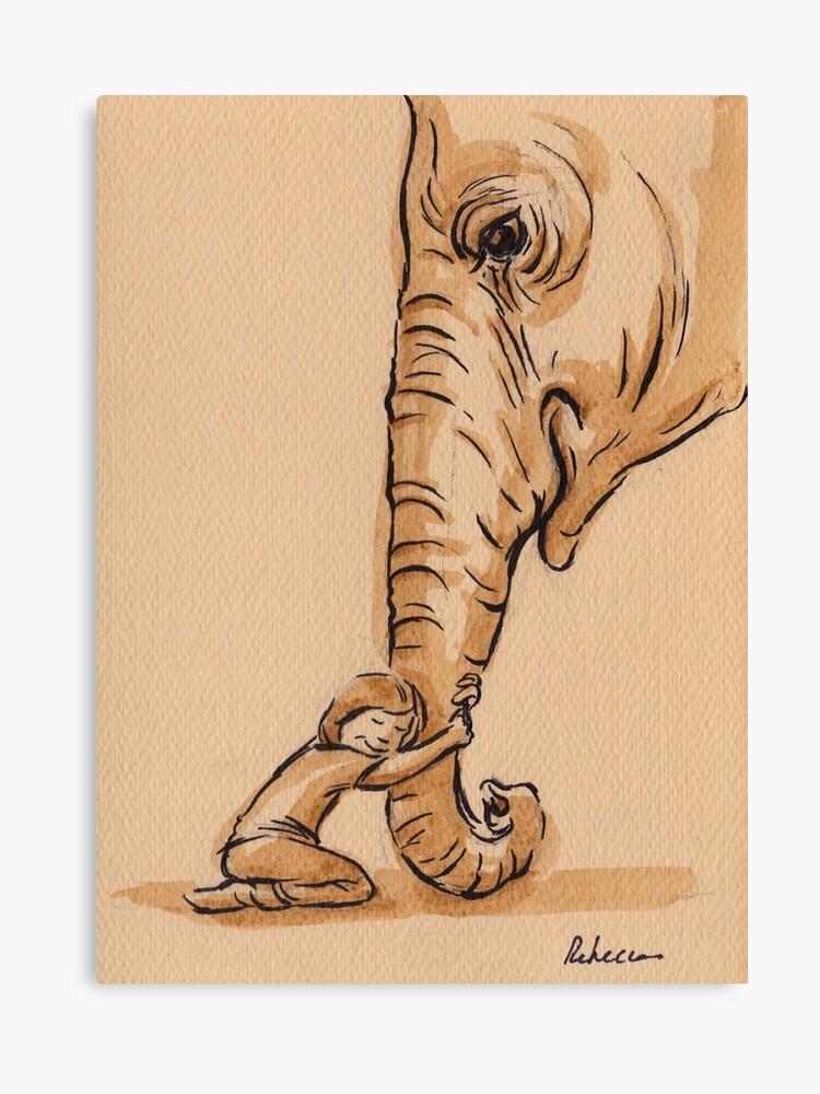 best friends elephant watercolor
