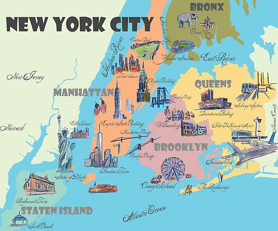 quotNew York City NY Highlights Mapquot Poster by artshop77