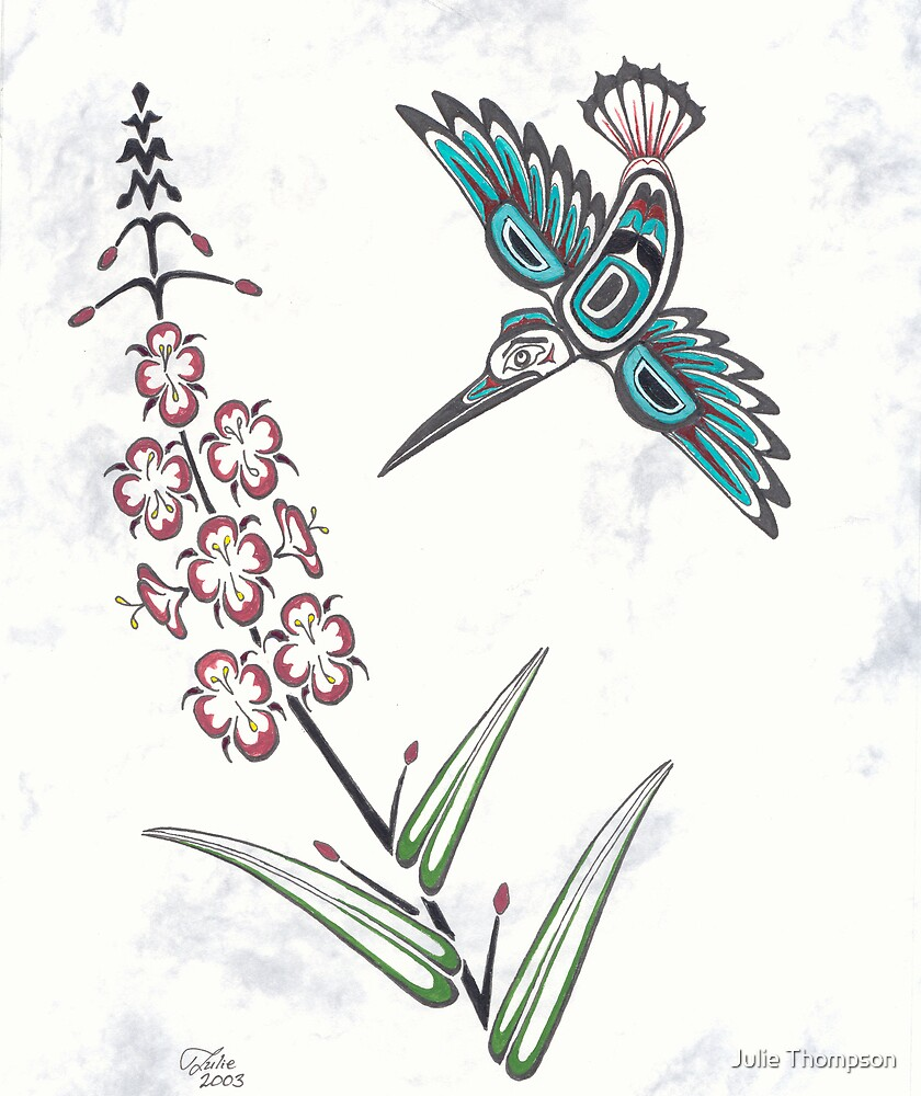 Pacific Northwest Coast stylized Hummingbird by Julie Thompson  Redbubble