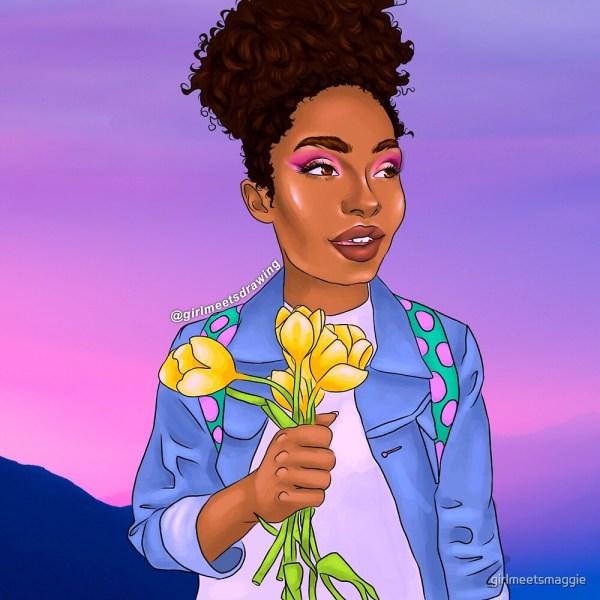 """""""yara Shahidi Zoey Johnson Yellow Tulips Drawing Blackish Grownish"""" Girlmeetsmaggie Redbubble"""