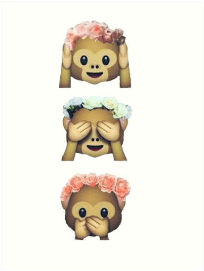 Cute Emoji Wallpapers Monkeys Quot See No Evil Monkey Emoji Hipster Flower Crown Tumblr Quot Art