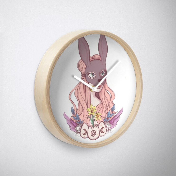 stephanie mal illustration redbubble wiccan sabbat ostara easter hare rabbit mask witchcraft nature natural print on demand