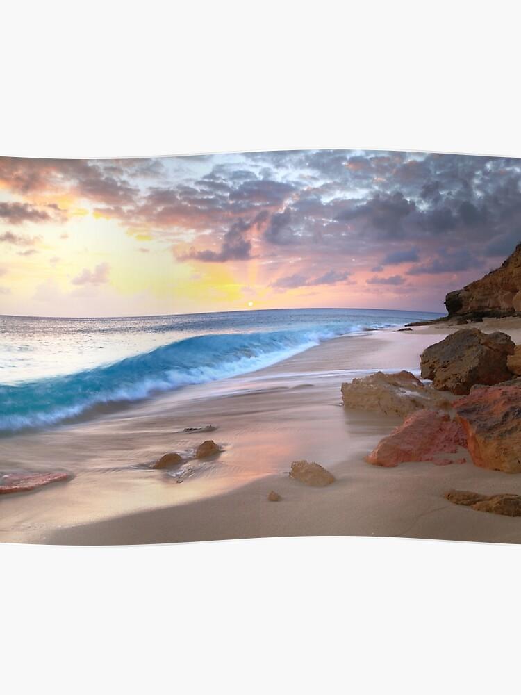 cupecoy beach sunset st
