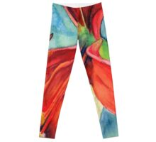 Leggings with red lis flower in watercolor green blue background