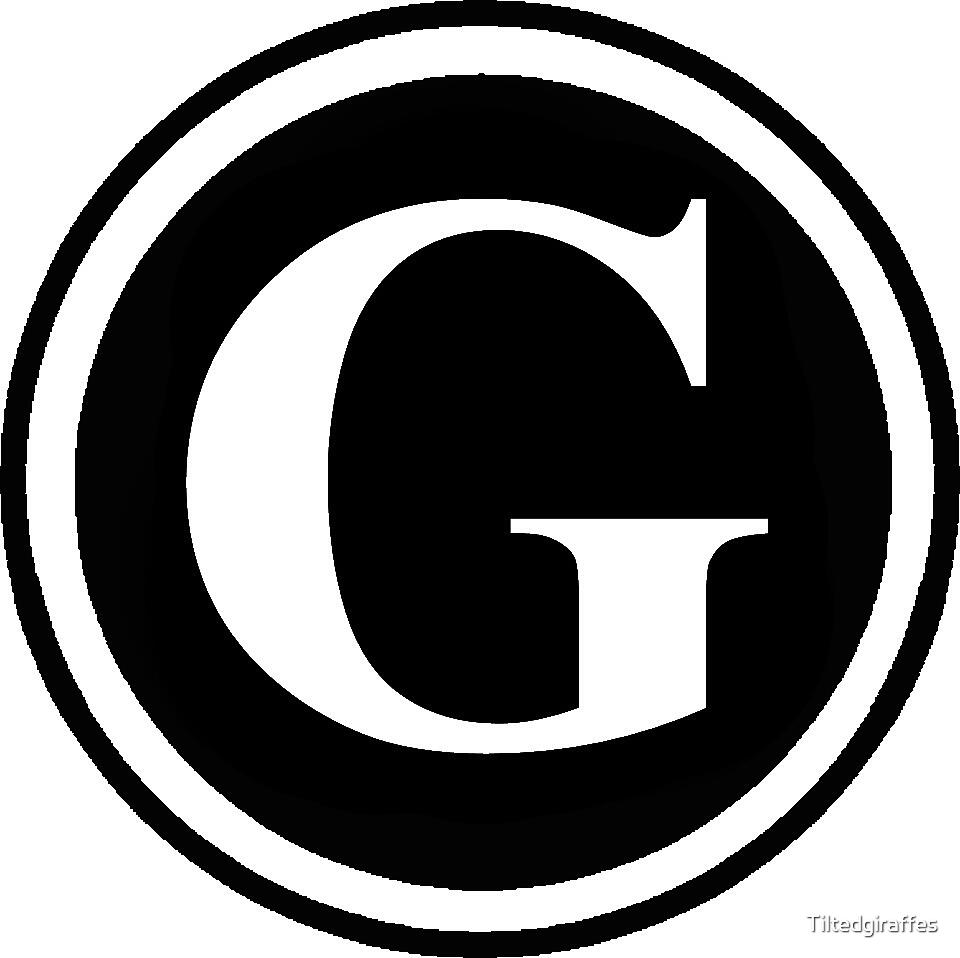 Circle Monogram G by Tiltedgiraffes  Redbubble