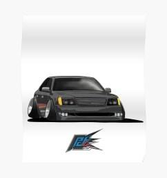 black lexus ls400 stanced poster [ 1000 x 1000 Pixel ]