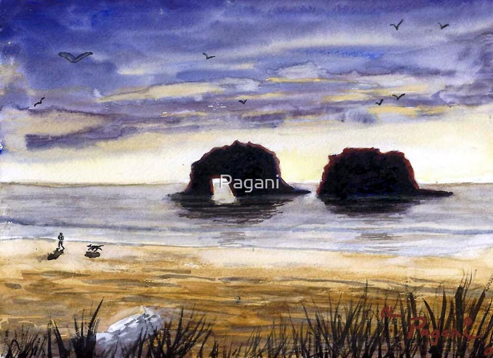 Twin Rocks Rockaway Beach Oregon Watercolor Sketch by
