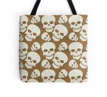 Skull Graphic Pattern Design Tote Bag. Grunge white Skulls with a distressed texture background design. Skull Pattern with a brown background.