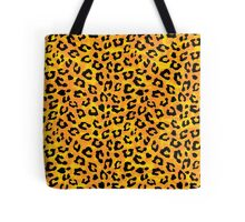 Yellow Orange Cheetah Skin Print Tote Bags. Cheetah skin print graphic pattern in black and orange yellow that looks like fire flames. Wild cat lover's design.