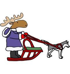 funny moose dog sledding cartoon by naturesfancy [ 833 x 1000 Pixel ]