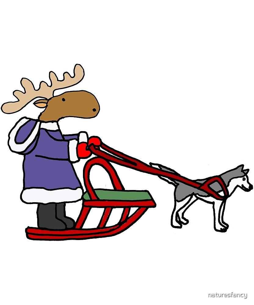 medium resolution of funny moose dog sledding cartoon by naturesfancy