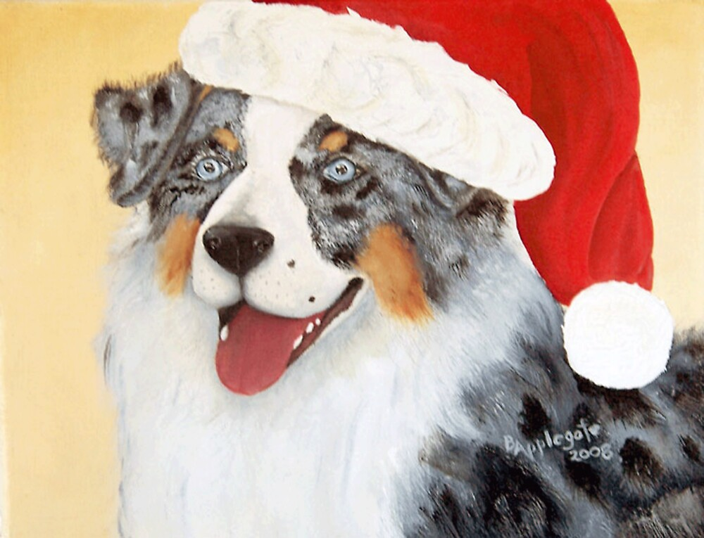 Christmas Australian Shepherd Oil Painting By