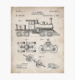 train locomotive patent steam train art antique photographic print by patentpress redbubble [ 1000 x 1000 Pixel ]
