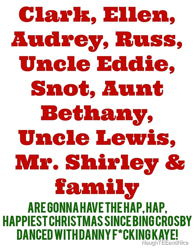 Christmaas Vacation Names The Griswolds By Naughteeandnice Redbubble