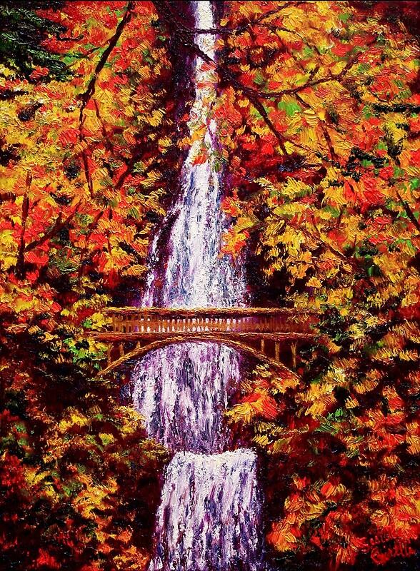 Multnomah Falls Oregon Wallpaper Quot Autumn At Multnomah Falls Quot By Sesillie Redbubble