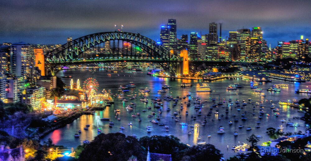 City Of Light  New Years Eve Sydney Harbour Australia  The HDR Experience by Philip