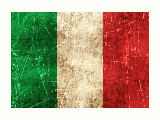 Vintage Aged and Scratched Italian Flag Art Print by