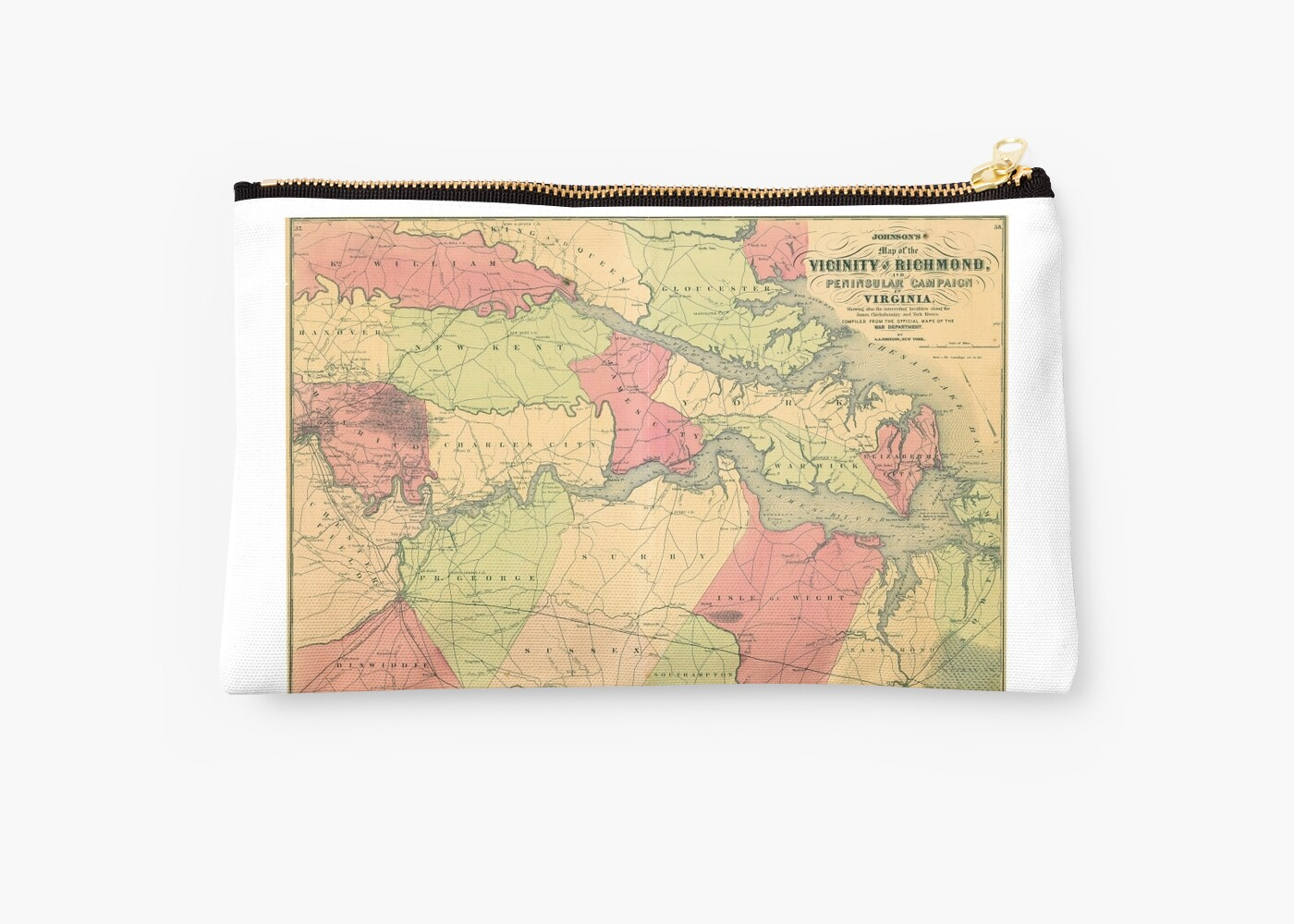 Civil War Map Showing Battlefields Of Virginia Studio Pouches By Allhistory