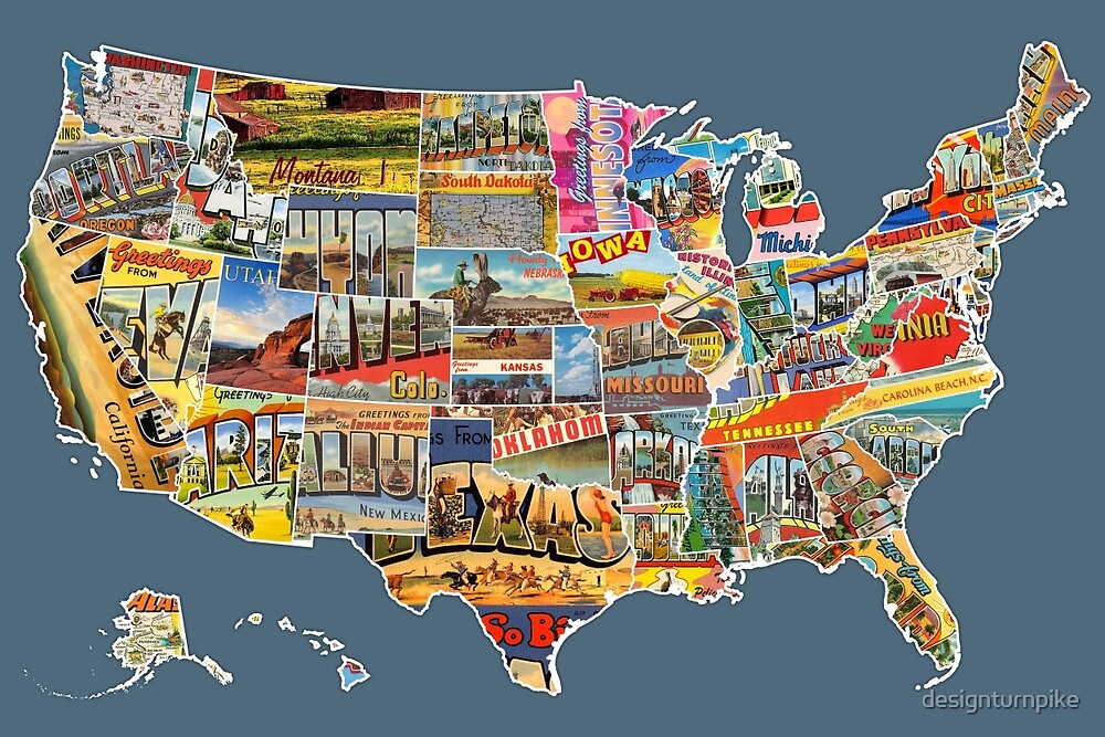 """""""postcards Of The United States Vintage Usa All 50 States"""