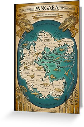 Map Of The Supercontinent Pangaea Greeting Card By