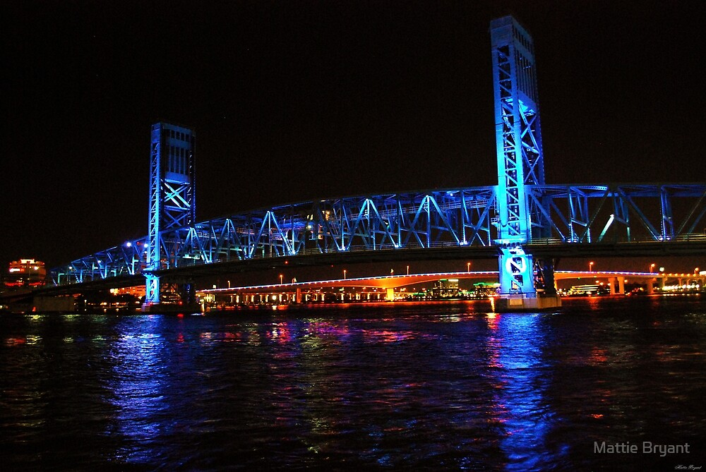 Blue Bridge By Night Jacksonville FL by Mattie Bryant