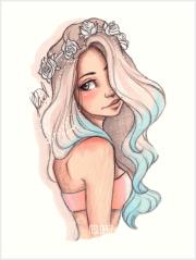"""""""mermaid hair"""" art print itslopez"""