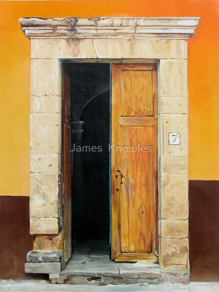Numero Siete  oil painting of an old Mexican door by