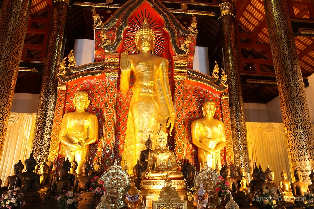 Inside a Buddhist temple in Thailand by Janette Anderson