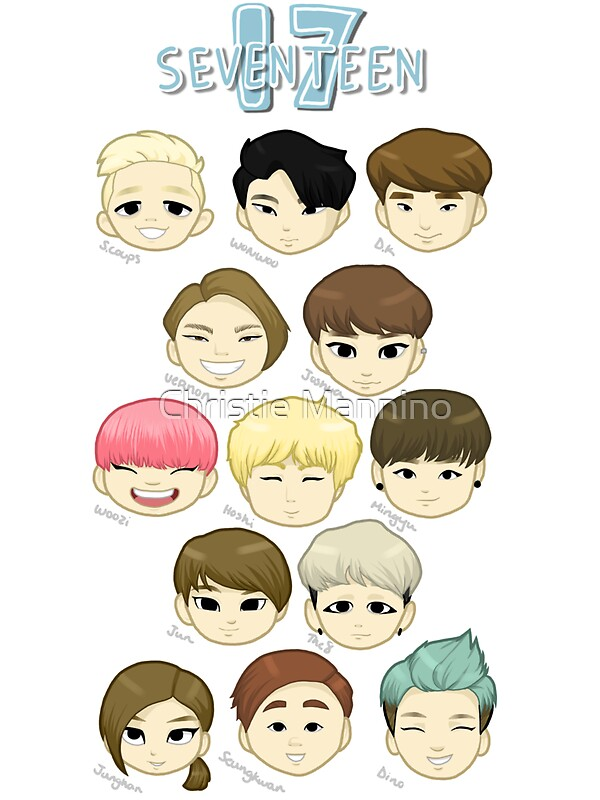 Iphone X Wallpaper Size Overlay Quot Seventeen Chibi Heads Quot Stickers By Christie Mannino