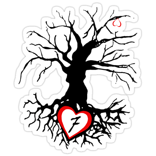 Sticker: 7 of hearts tree