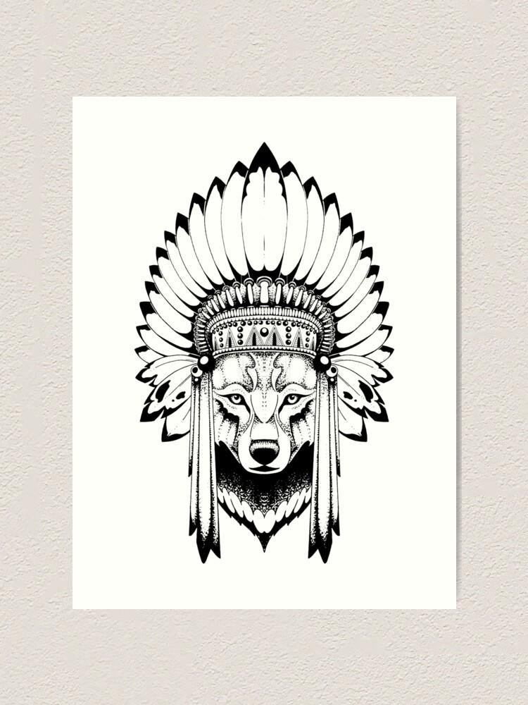 Wolf With Headdress : headdress, Indian, Headdress