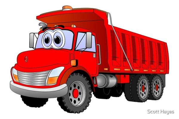 """red dump truck 3 axle cartoon"""