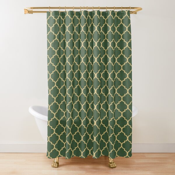 shades of green moroccan trellis pattern shower curtain by gloamingbooks redbubble