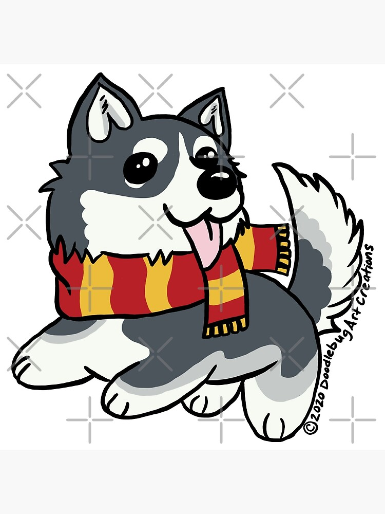 Husky Dog Cartoon Scarf Cute Art Board Print By Doodlebug Art Redbubble