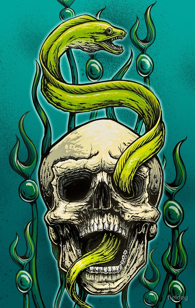 Old School Tattoo Skull And Moray By Fieldey Redbubble