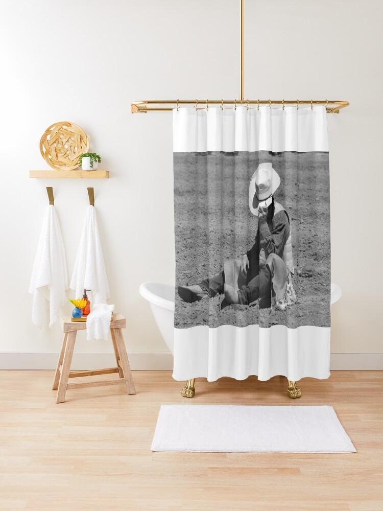 walk it off cowboy shower curtain by riverhawkphoto redbubble