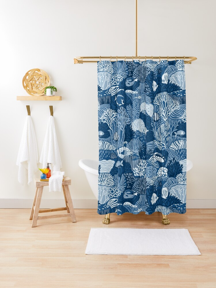 coral reef in classic blue shower curtain by ikerpazstudio redbubble