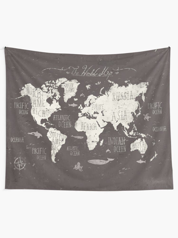 Amazon.com: Sunm boutique World Map Tapestry Wall Hanging