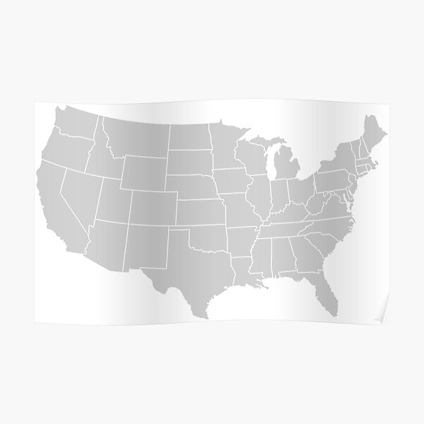 A device in some webopedia is an online dictionary and internet search engine for information technology and. Hi Res Map Of The Continental Usa With States In Gray Color Poster By Arwensattic Redbubble