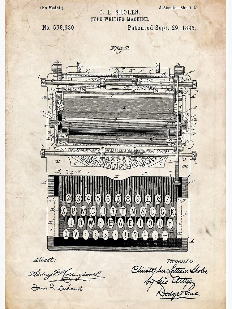 Invention De La Machine à écrire : invention, machine, écrire, Impression, Rigide, Brevet, D'invention, Machine, Geekuniverse, Redbubble