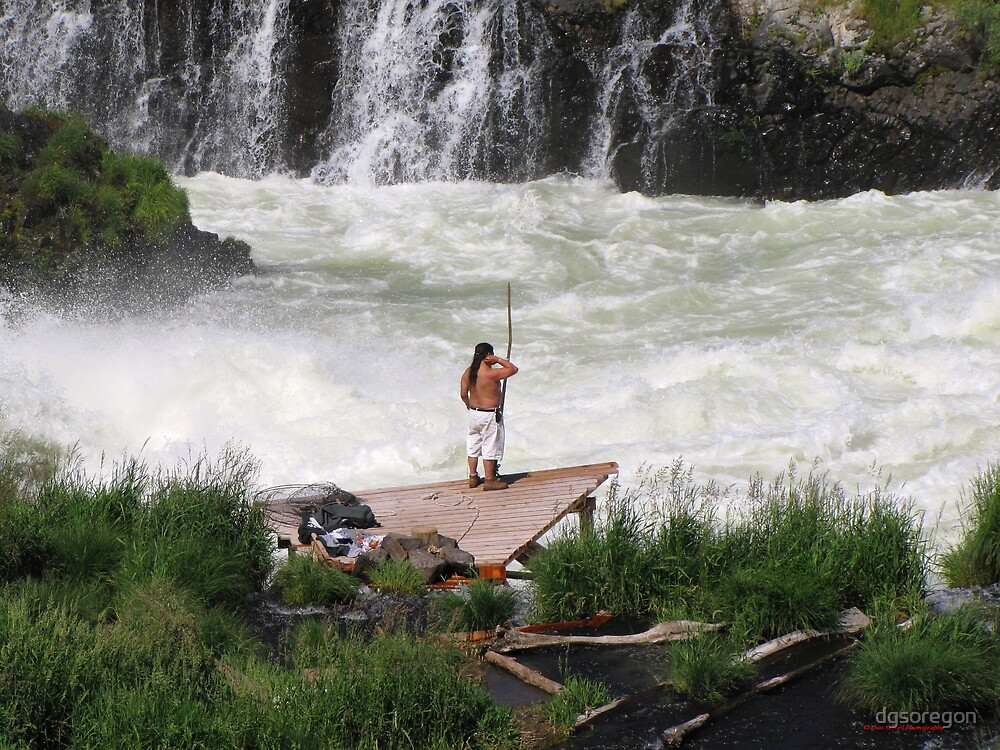 Fishing at Sherars Falls Oregon  by Donald Siebel