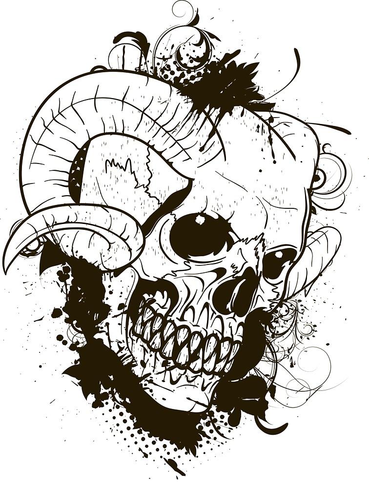 Horned Skull by KimberlyMarie  Redbubble