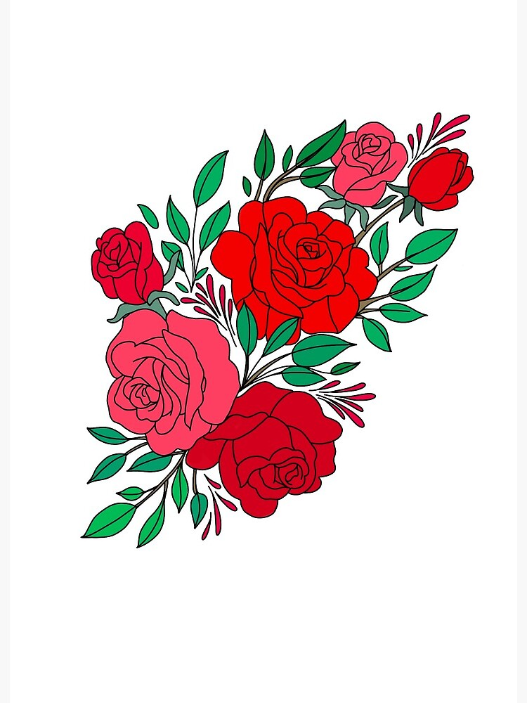 Rose Drawing Images : drawing, images, Bunch, Coloured, Drawing, Board, Print, Lulujay, Redbubble