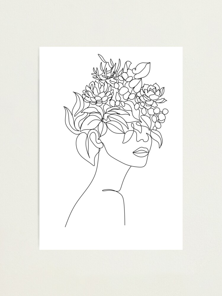 Girl With Flower Head Drawing : flower, drawing, Plant, Woman, Print, Plants, Poster, Flower, Drawing, Woman