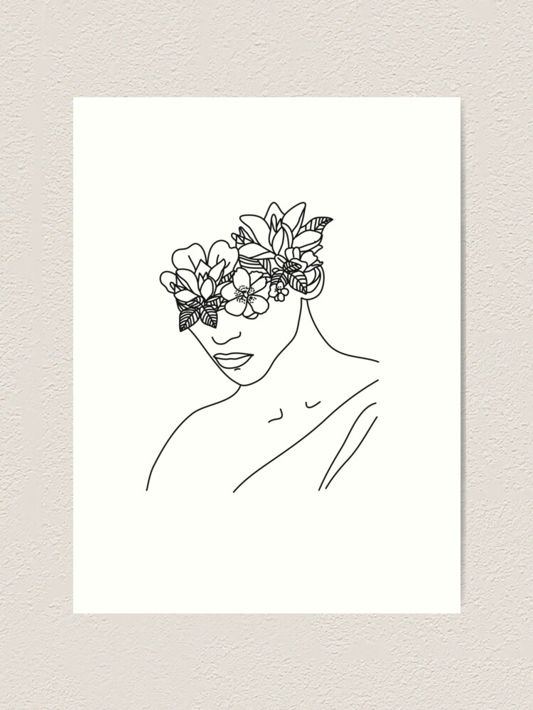 Girl With Flower Head Drawing : flower, drawing, Flower, Woman, Minimal, Print, Minimallineart, Redbubble