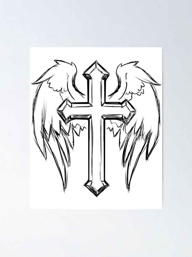Cross With Angel Wings Drawing : cross, angel, wings, drawing, Black, Christian, Cross, Angel, Wings