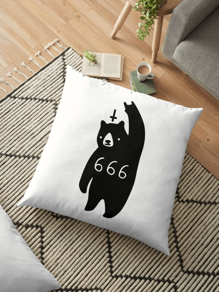black bear metal floor pillow by obinsun redbubble