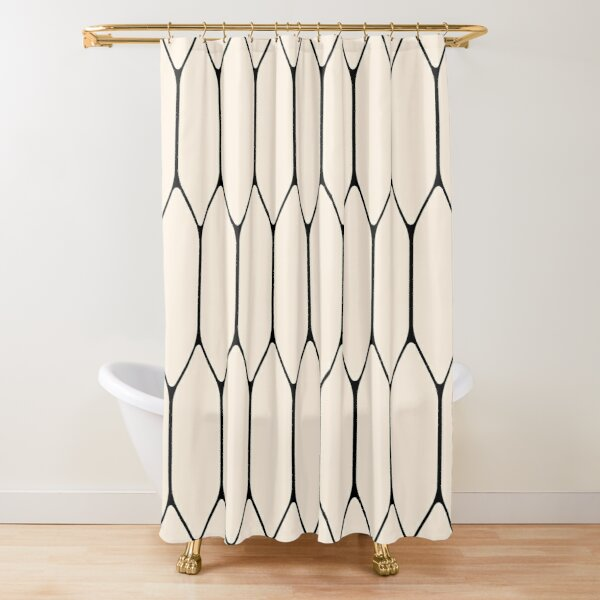 long honeycomb minimalist geometric pattern in white and nautical navy blue shower curtain by kierkegaard redbubble