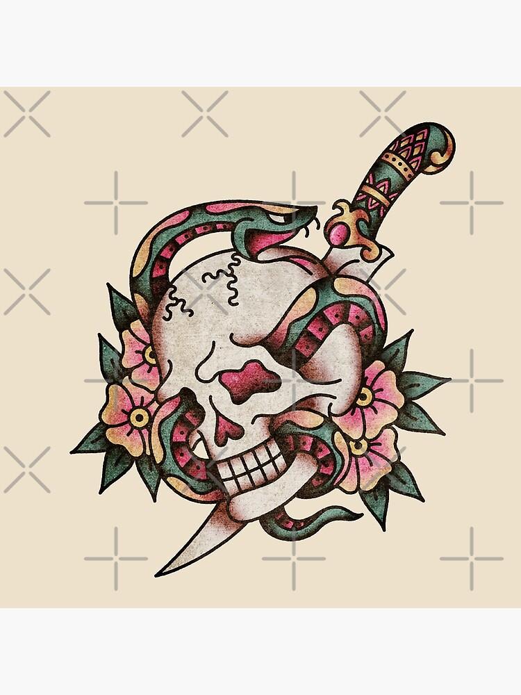 American Traditional Tattoo Skull : american, traditional, tattoo, skull, Salty-Dog, American, Traditional, Tattoo, Motif
