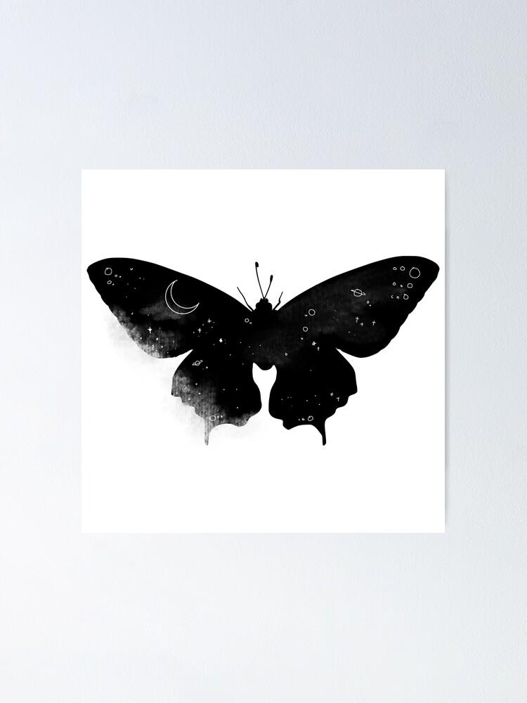 Papillon De Nuit Noir Et Blanc : papillon, blanc, Poster, Papillon, Galaxy, Nocturne, Esthétique, Egirl, Minimaliste, (noir, Blanc), AfireArts, Redbubble